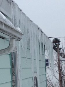 water damage caused from ice dams
